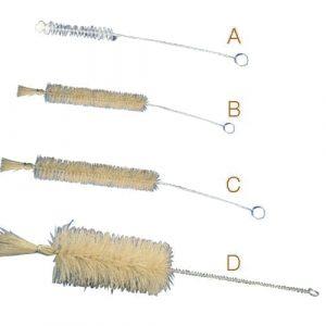 Goupillon à brosse en poil naturel pour tubes à essai